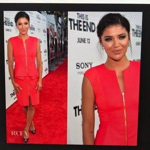 Ted Baker red zipper peplum dress worn once 1